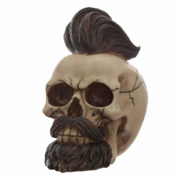 Gothic HIPSTER MOHICAN Skull with BEARDS Skeleton Nemesis SK306